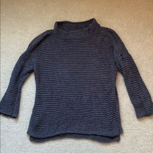 Lou & Grey Open Weave Mock Neck Sweater